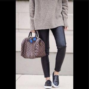 ABS Platinum black faux leather pants size 4 NWT